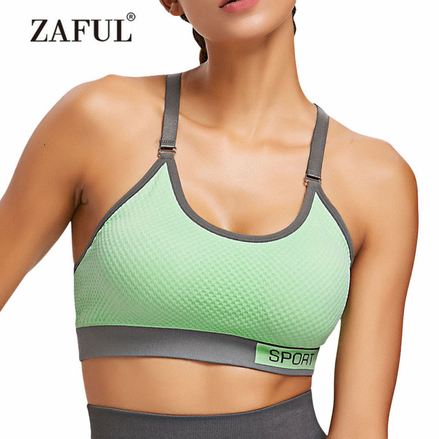 c23e9f133ac31 ZAFUL Sports Bra Checked Textured Knit Graphic Sports Bra Adjusted-straps  Letter Full Cup Padded Gym Training Fitness Sports Bra
