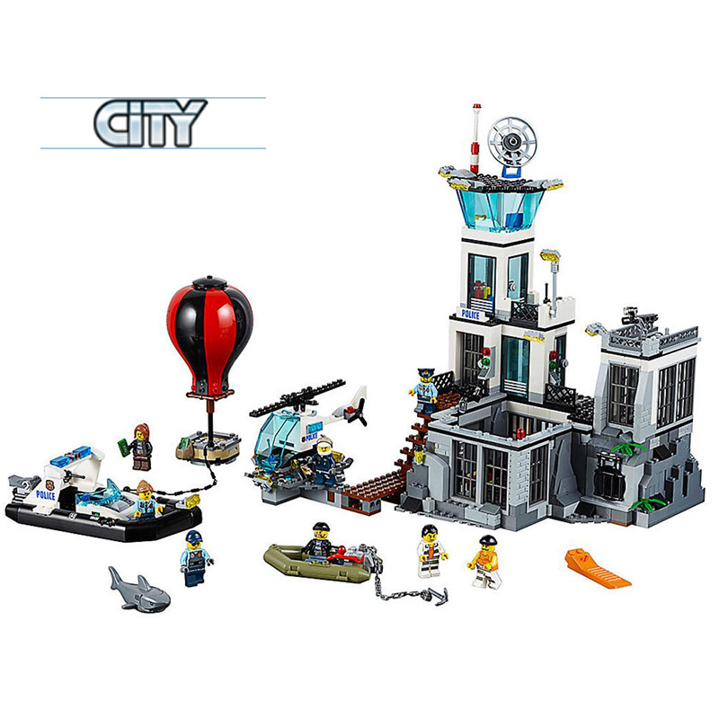 02006 Genuine The Prison Island Set DIY City Series 60130 Building Blocks Self-Locking Bricks Educational boys girls gifts lepin 02006 815pcs city series police sea prison island model building blocks bricks toys for children gift 60130