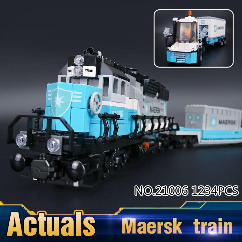 ФОТО 2016 New LEPIN 21006 1234Pcs Technic Series Maersk Train Model Building Kits Blocks Bricks Children Toys Gift 10219
