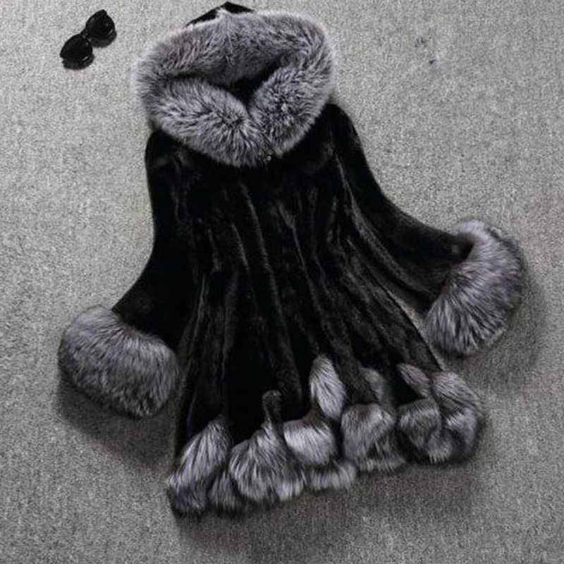 Fitaylor зимняя женская куртка из искусственного меха норки размера плюс 6XL, Женская длинная парка из искусственного лисьего меха с капюшоном, узкая куртка с поясом