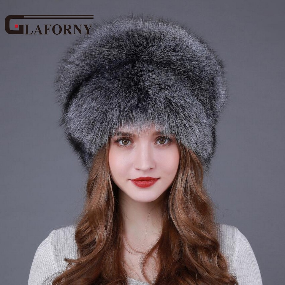 2017 New Fashion Silver Fox Fur Beanies Women s Winter Caps Fox Fur Hats Female Real