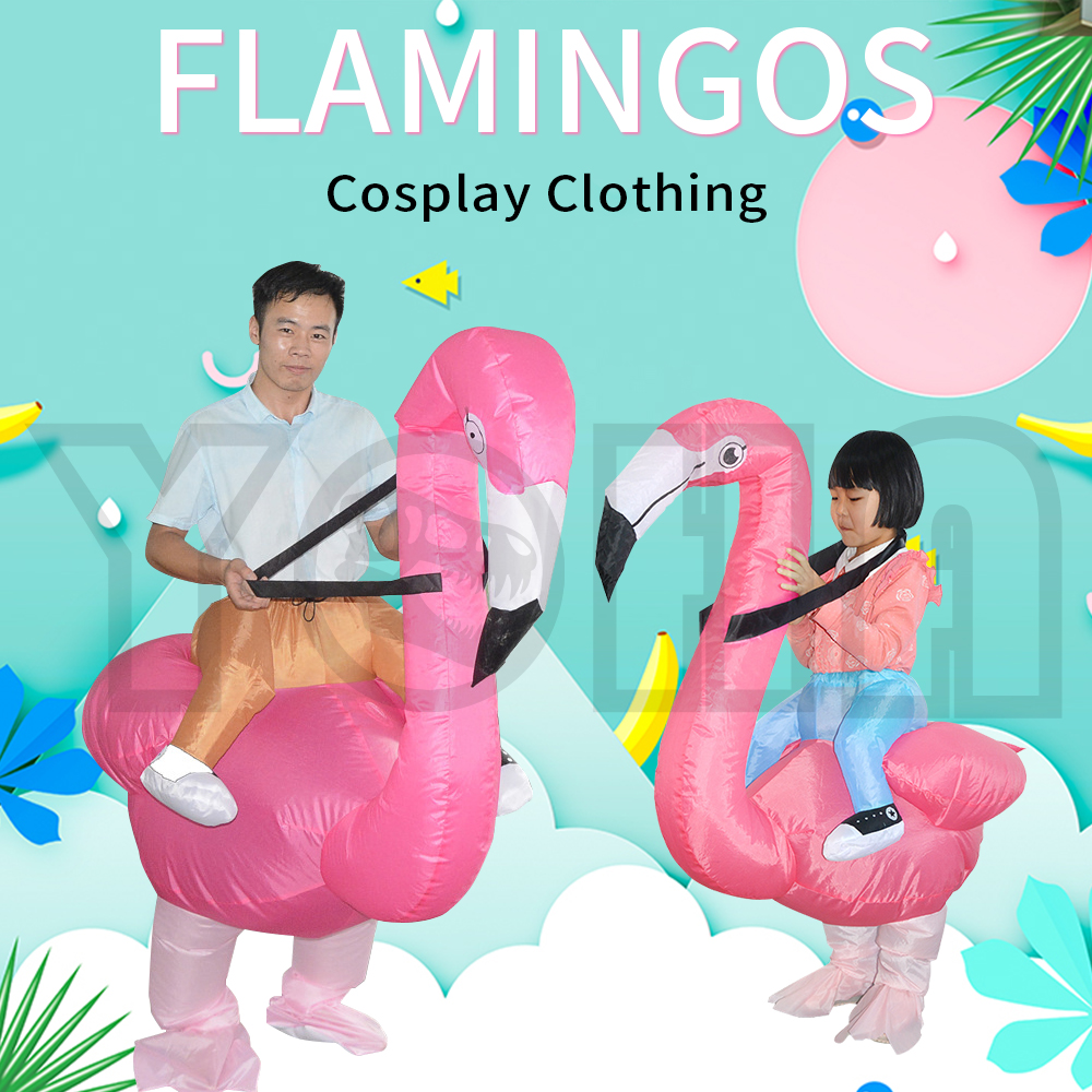 Inflatable Flamingo Dinosaur Costumes Blowup  Cosplay Halloween Inflatable Costume Mascot Party Costume for Adult Kids