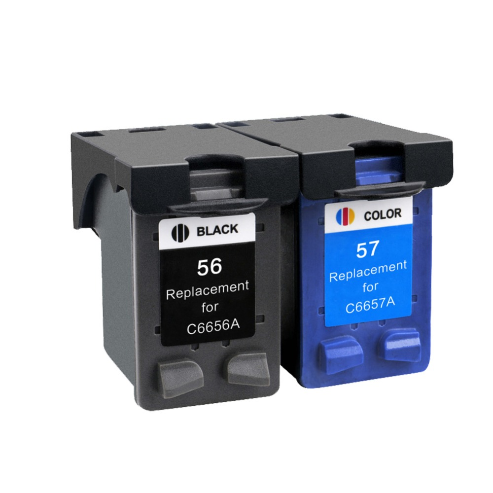 2PK Compatible Ink <font><b>Cartridge</b></font> 56XL 57XL 56 XL 56 for <font><b>HP</b></font> 56 57 C6656A C6657A Deskjet 450CI <font><b>5550</b></font> 5552 7150 7350 7000 2100 220 image