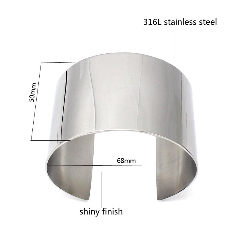 COUYA New Designer Stainless Steel Wide Blank Plain Shiny Arm Cuff Bangle Bracelet Hiphop Punky Jewelry Ladies Fashion Jewelry
