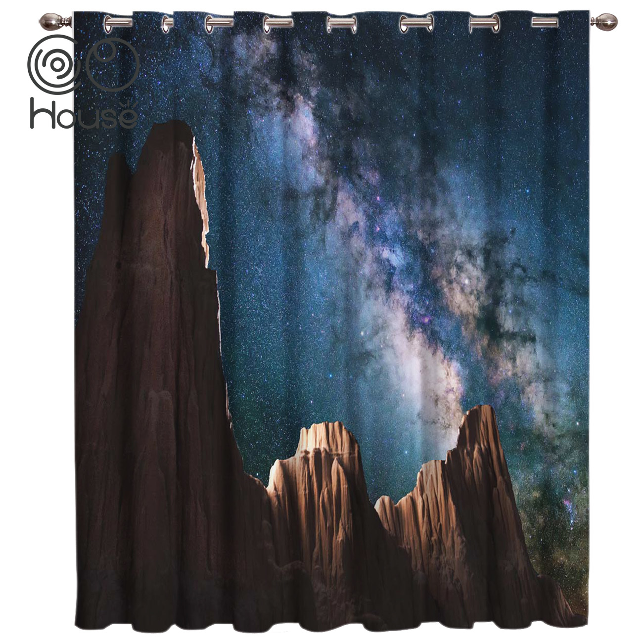 CoCoHouse Canyon Starry Sky Galaxy Window Curtains Dark Curtains Bathroom Outdoor Bedroom Kitchen Fabric Decor Swag Kids Curtain