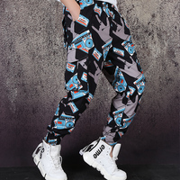 M 2XL!! Fashion retro tape recorder printed casual pants loose hip hop overalls feet pants tide men high street pants.