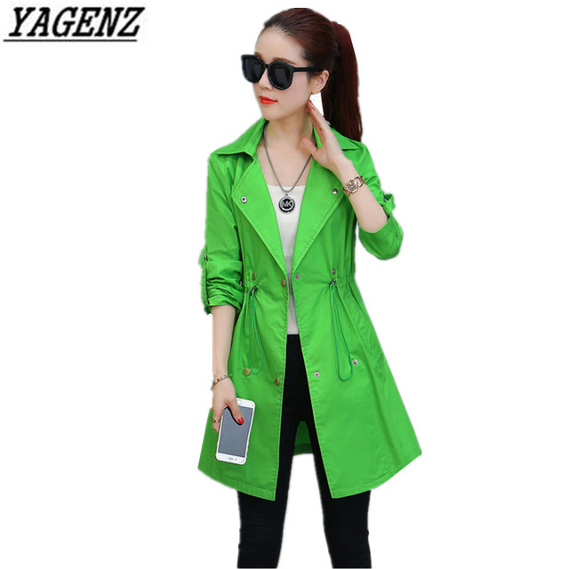 a4700b726826f YAGENZ Slim Women Trench Coats Plus Size S-XL Casual Suit Collar Autumn  Spring Multiple Colour Double Breasted Lady Long Outwear