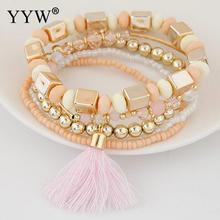 Bohemian Beach style Candy Color Multilayer Beads Tassel Charm Bracelets Bangles For Women Gift Pulseras Mujer