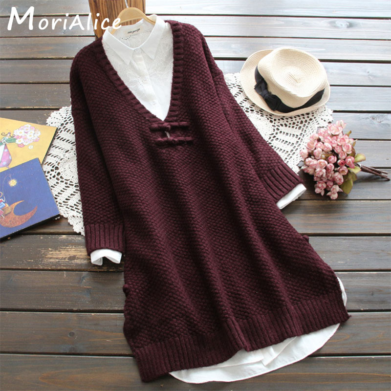 Winter Casual Women Clothing Large V Neck Full Sleeved Buckle Decorated Long Outerwear Ruffle Female Pullovers Sweater U625-in Pullovers from Women's Clothing    1
