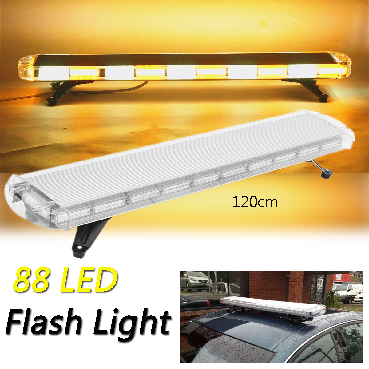 Audew 12V 88LED 47 Strobe Light Bar Yellow White Emergency Beacon Warn Tow Truck Response Fog led Flashing Lights Universal amber 30 led emergency strobe flashing warning light 12v 24v yellow warn beacon lights signal lamp for school bus truck atv utv