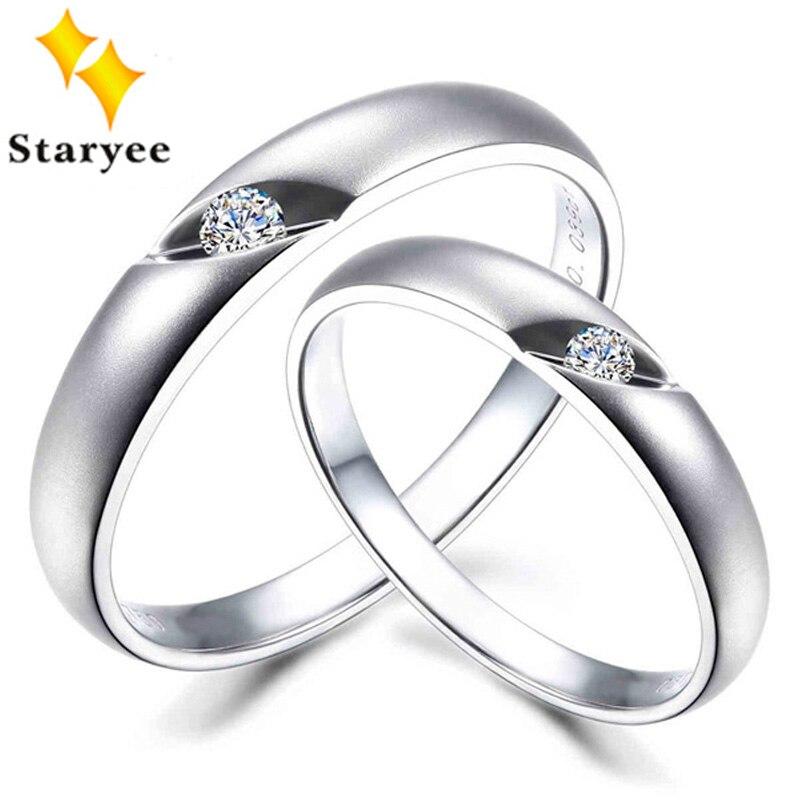 אופנה מקורית 18 K זהב לבן מוצק חובבי זוג חתונה לאדם אישה SI קראט 0.05 שעות לכל זוג