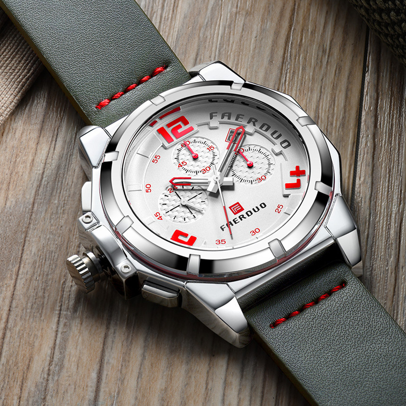 Gray Men Watch Chronograph Big Dial Sports Multi-Function Luxury Brand Watch Men Genuine Leather Watches Relogio Masculino