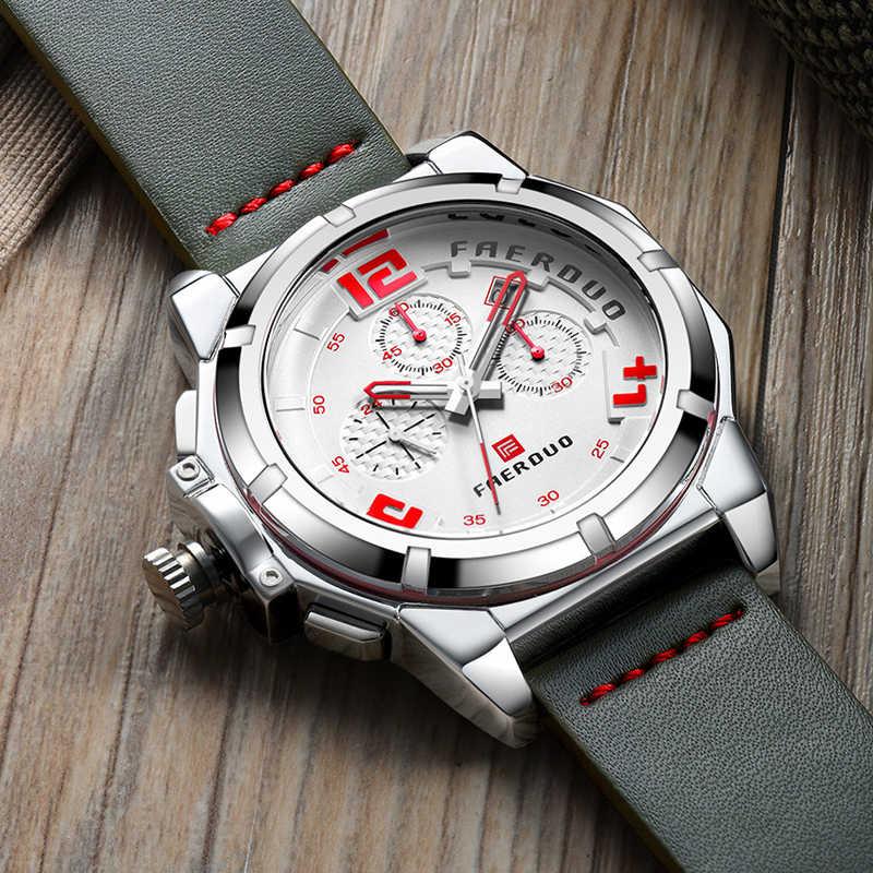 Gris hommes montre chronographe grand cadran sport multi-fonction marque de luxe montre hommes en cuir véritable montres Relogio Masculino