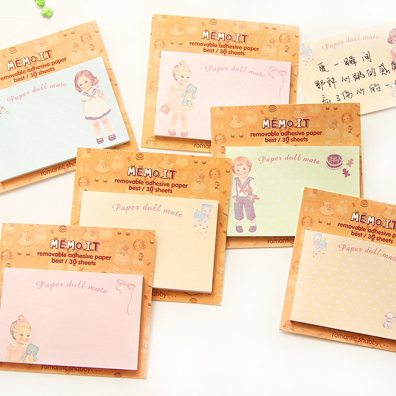 10 pcs/Lot Post it sticky notes Paper baby doll memo pad stickers Cute stationery Office tools School supplies FM651
