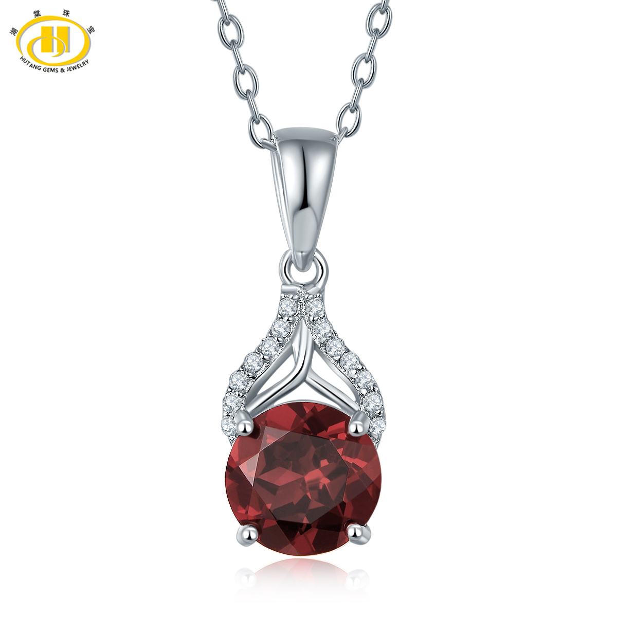 Hutang 2.05ct Natural Garnet Pendant Solid 925 Sterling Silver Necklace Gemstone Fine Jewelry Women's Ladies Accessories 2017