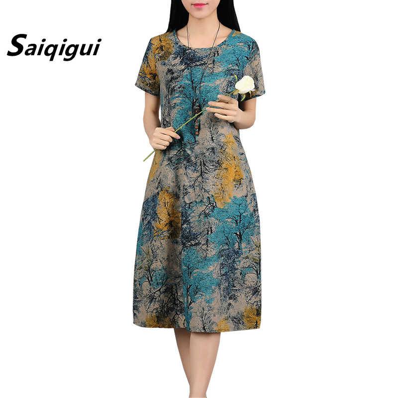 3314d733881 Saiqigui летнее платье с коротким рукавом женское платье повседневное  свободный принт хлопковое льняное платье с круглым