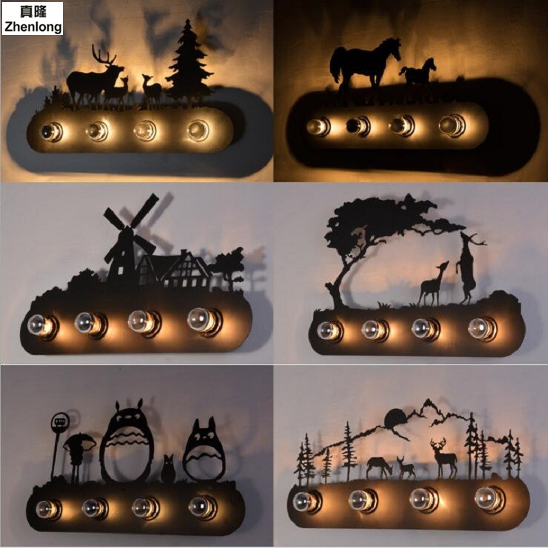 LOFT Industrial Wind Mustang Double Horse Wall Light Forest Double Deer Windmill Wall Luminaire Cartoon Totoro Vintage Wall Lamp forest railway throw wall art tapestry