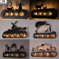 LOFT Industrial Wind Mustang Double Horse Wall Light Forest Double Deer Windmill Wall Luminaire Cartoon Totoro Vintage Wall Lamp