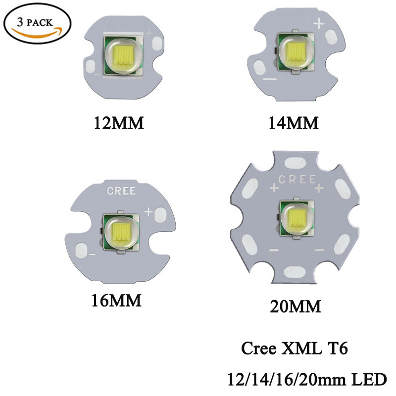 3PCS CREE XML XM-L T6 LED U2 10W Cold White Warm White High Power LED Emitter Diode With 12mm 14mm 16mm 20mm PCB For DIY
