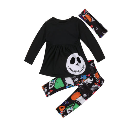 Halloween 3PCS Toddler Kids Baby Girls Autumn Outfits Clothes T-shirt Tops+ Leggings Pants