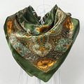 Popular Accessories 90*90cm Army Green Satin Square Silk Scarf New Design Women Polyester Silk Scarf Printed