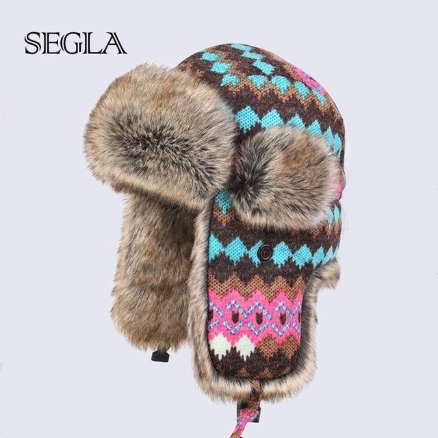 SEGLA Russian Winter Hats for Women Waterproof Warm Faux Rabbit Fur Hat Men's Bomber Hats Artificial Fur Wool Trapper Hats