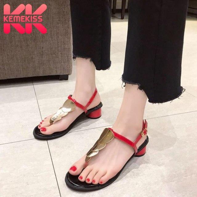 35 Playa Kemekiss Casual Mujeres Zapatos Mujer Hebilla Chanclas De Bajo 2019 Talla Verano Tacón Moda Fiesta 39 Sandalias Metal Y6fgb7y