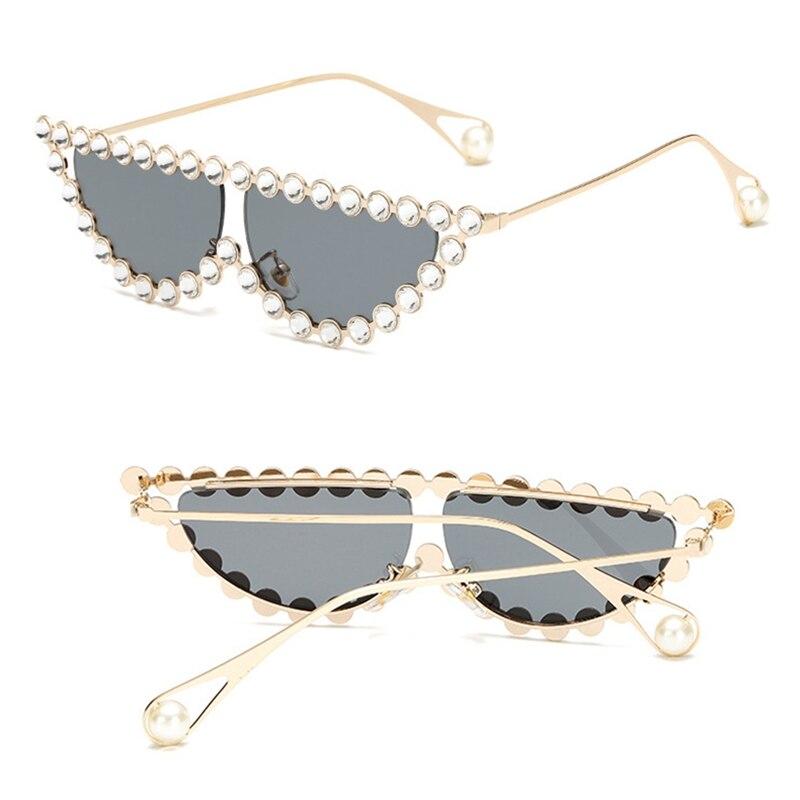 Rhinestone Sunglasses Shades Pearl Carter-Frame Diamond Tiny Vintage Triangle Cat-Eye