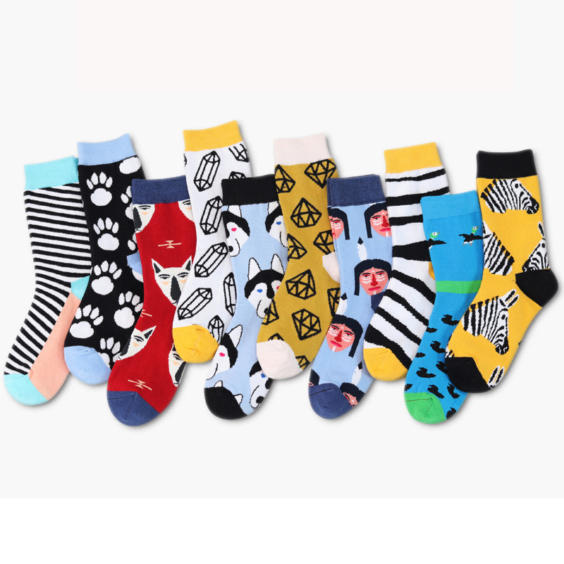 Casual Men's Socks 2019 Hot New Socks Fashion Design Striped Colorful Animal Cartoon Socks Kawaii Cute Men And Women Cotton Sock