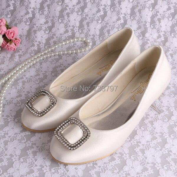 (20 Colors)Custom Handmade Hot Selling Flat White Bridal Shoes Wedding Crystal Women