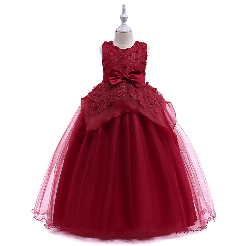free shipping flower girl dresses for weddings 2018  first communion christmas little girl pageant gowns dresses for girls Red