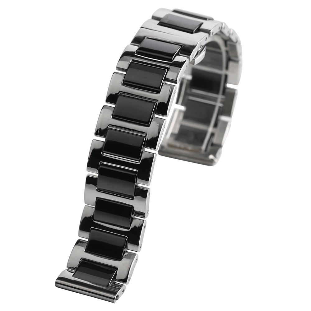Ceramics 18/20mm Watch Band Solid Link White/Black Stainless Steel Hidden Clasp  High Quality  Replacement Wrist Bracelet white ceramics band design mens leisure watch
