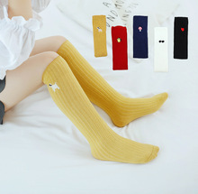 Knee High Socks for Children Girls 4 to 12 Years Cotton Kids Sock Leg Warmer Solid Cartoon embroidery Princess Long