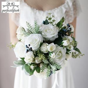 Image 5 - Perfectlifeoh 2020 חמה חתונה זר צמחים בשרניים ירוק מלאכותי זרי כלה נשים זר דה mariage
