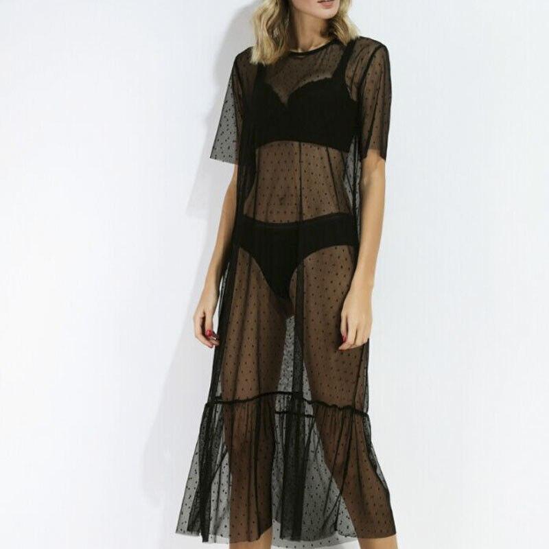 Women Bathing Suit Cover-Ups 2018 New Lace Crochet Bikini Cover Up Lady Swimwear See Through Beach Dress Pareo Tunics for Beach