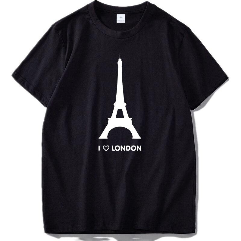 Eu amo londres t camisa engraçado torre eiffel design romântico moda tshirt homme algodão macio hipster camisa eua tamanho