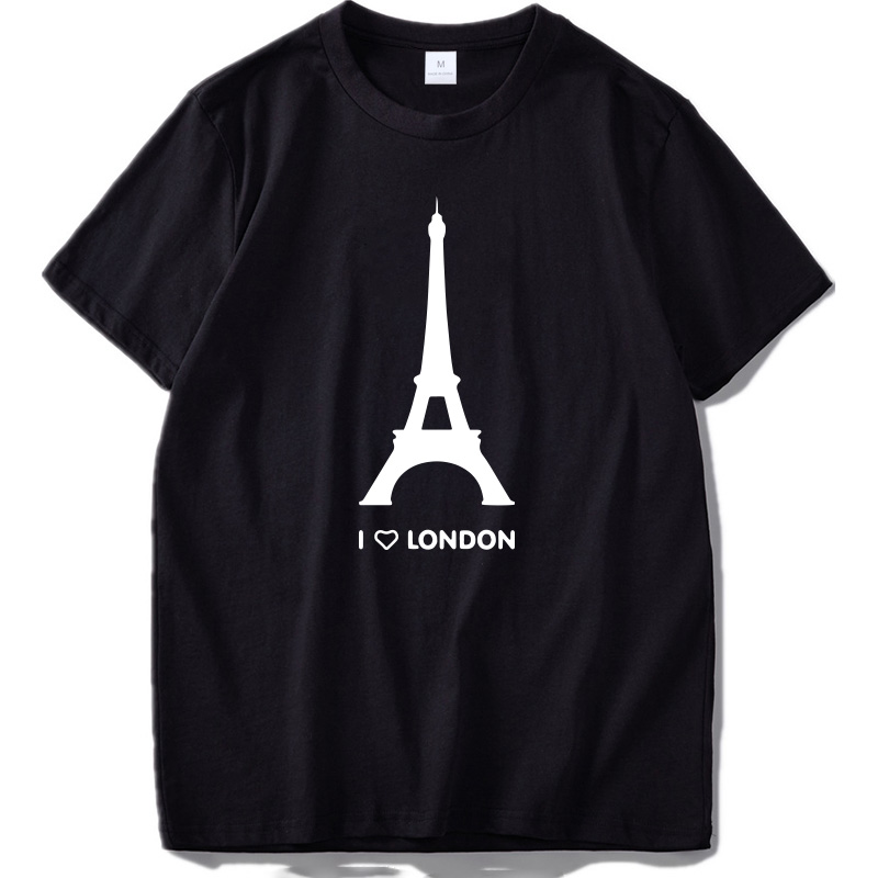 I Love London   T     shirt   Funny Eiffel Tower Romantic Design Fashion Tshirt Homme Cotton Soft Hipster Camiseta US Size