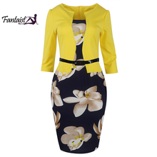 Fantaist Women Fall One Piece Patchwork Floral Print Elegant Formal Bodycon Pencil Work Dresses
