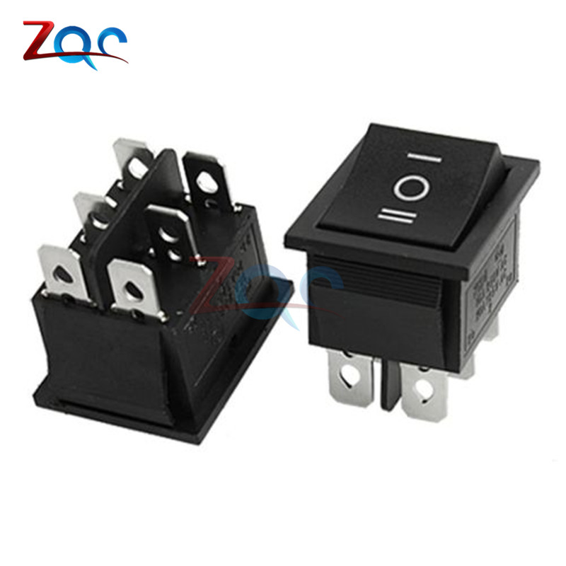 2PCS 6Pin DPDT ON-OFF-ON 3 Position Snap Boatlike Rocker Switch AC 6A/250V 10A/125V 250vac 15a 125vac 20a 4 pin 2 position dpst on off snap in rocker switch kcd2 201n