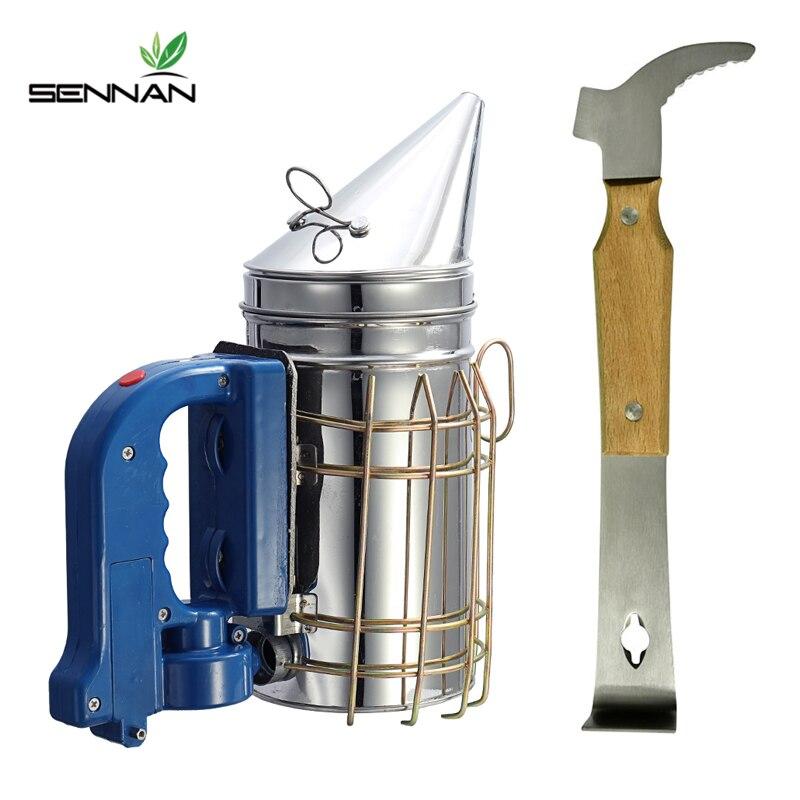 Ensemble d'outils d'apiculture SenNan équipement d'outil d'apiculture de fumeur d'abeille électrique de haute qualité + grattoir multifonction à manche en bois
