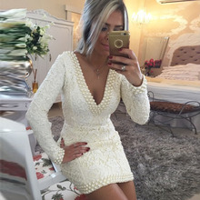 Fast Shipping White Ivory Lace Long Sleeves Sexy Backless Short font b Prom b font font