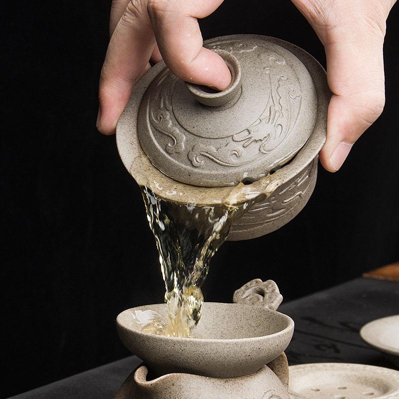 Handmade Dragon Porcelan Tureen Gong Fu Tea Bowl 4