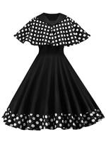 1950 S Dress Vintage Patchwork Casual Elegant Retro Plus Size Dresses Party Dot Club Evening Black