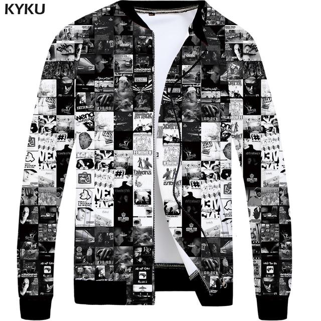 cebfc6af2852 KYKU Brand Band Jacket Men Character Bomber Jackets Black 3d Printed Coats  Gothic Anime Clothes Slim Hip Hop Mens Clothing 2018