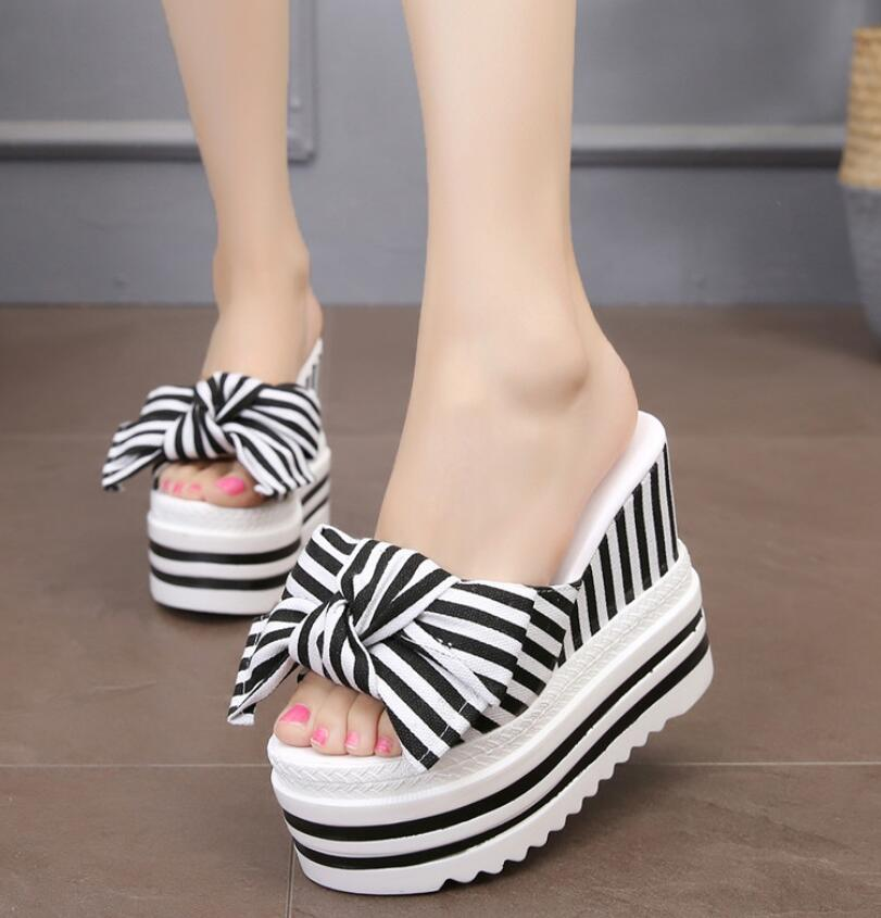 Sweet bows women sandals wedges body increases 11cm slippers summer high heels lady casual peep toe sandalias holiday Beach shoe slip-on shoe