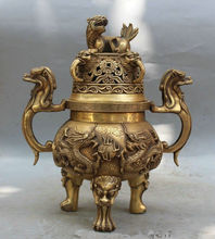 30.5 cm * / Chinese Dynasty Brass Two Dragon Bead Beast PiXiu Incense Burner