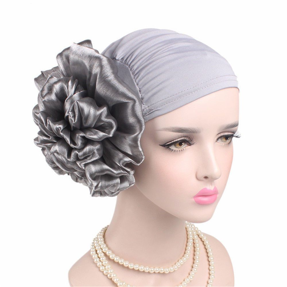 2018 New Woman Big Flower Turban Elastic Cloth Head Cap Hat Beanie Ladies Hair Accessories Muslim Scarf Cap For Hair Loss Unequal In Performance