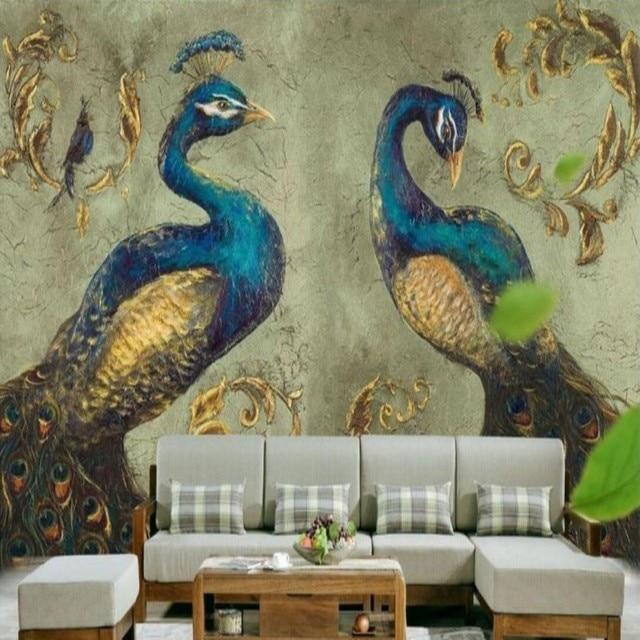 Fototapete Sudostasien Pfau Tapete Wandbild Retro Wohnzimmer Schlafzimmer Kaffee Zimmer Tv Hintergrundbild Wandbild