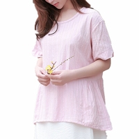 Mori Summer Casual Tunic 100 Cotton Short Sleeve O Neck Peplum Top For Ladies Unique Striped