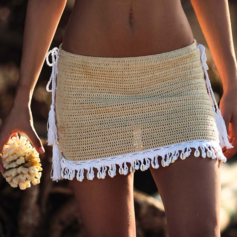 2019 Women 'S Sexy Beach Bikinis Swimwear Skirts Handmade Crochet Breathable Wrap Summer Bikini Mini Shell Black A-Line Skirt